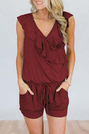 Allovely V Neck Ruffle One Piece Romper
