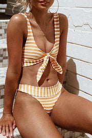 Allovely Stripy Bow Front Bikini