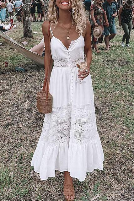 Allovely Bowknot Back Slit Lacework Slip Dress