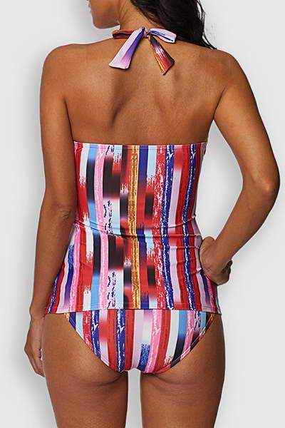 Allovely Striped Tankini Set