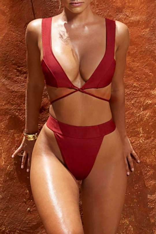 Allovely Solid Color Bikini