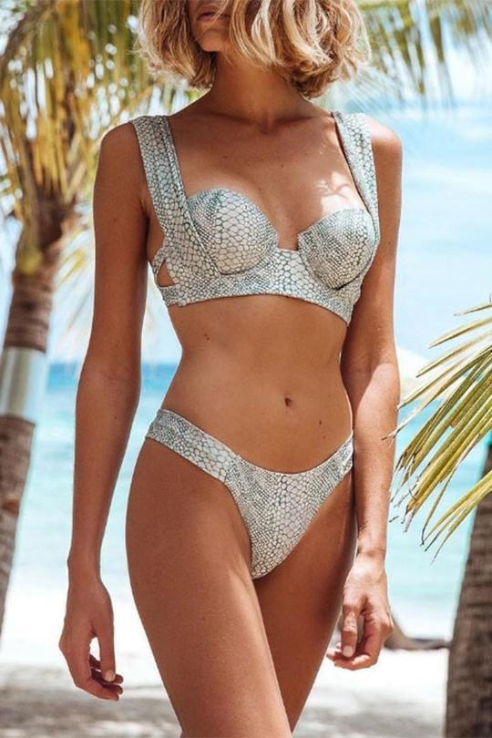 Allovely Snake Print Bikini