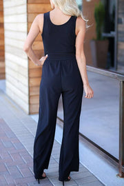 Allovely Plain Elegant Jumpsuit