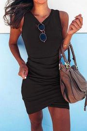 Allovely Surplice Design Ruched Bodycon Dress