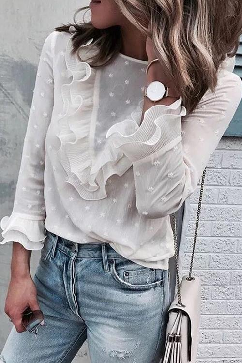 Allovely Lace Ruffled Chiffon Long Sleeve T Shirt