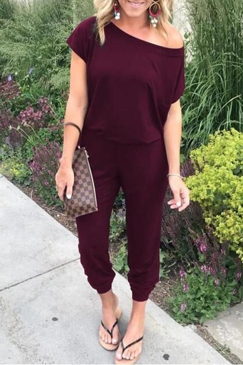Allovely Loose Off Shoulder Elastic Waist Casual Tee Jumpsuit