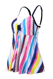 Allovely Striped Colorful Front Bow-tie Push Up Tankini