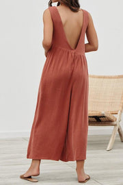 Allovely Trendy Solid V Open Back Design Loose Suspender Trousers