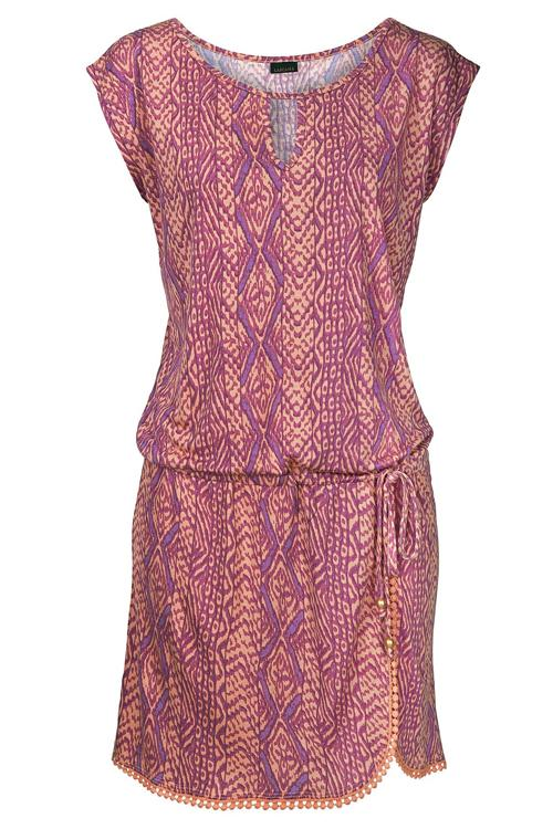 Allovely Crochet Hemline Print Dress