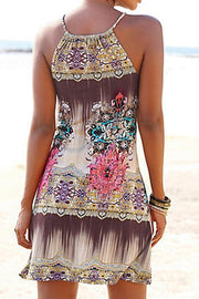 Allovely Halter Neck Boho Print Dress