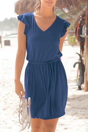 Allovely V-Neck Ruffle Shoulder Dress