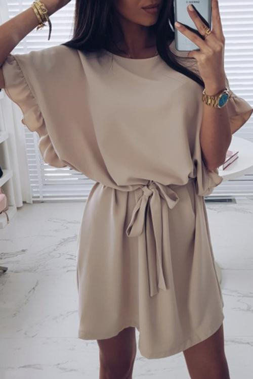 Allovely Ruffled Sleeve Strappy Dress