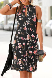 Allovely Chest Hollowed Back Strap Print Dress