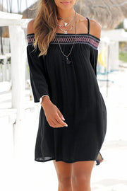 Allovely Embroidered Suspender Long Sleeve Dress