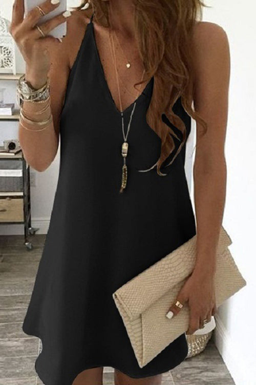 Allovely V Neck Sling Chiffon Dress