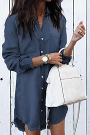 Allovely Denim Long Sleeve Shirt Dress