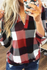 Allovely Plaid Printed V Neck Shirt