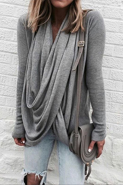 Allovely Irregular Collar Long Sleeve T Shirt