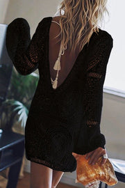 Allovely Long Sleeve V Neck Lace Dress