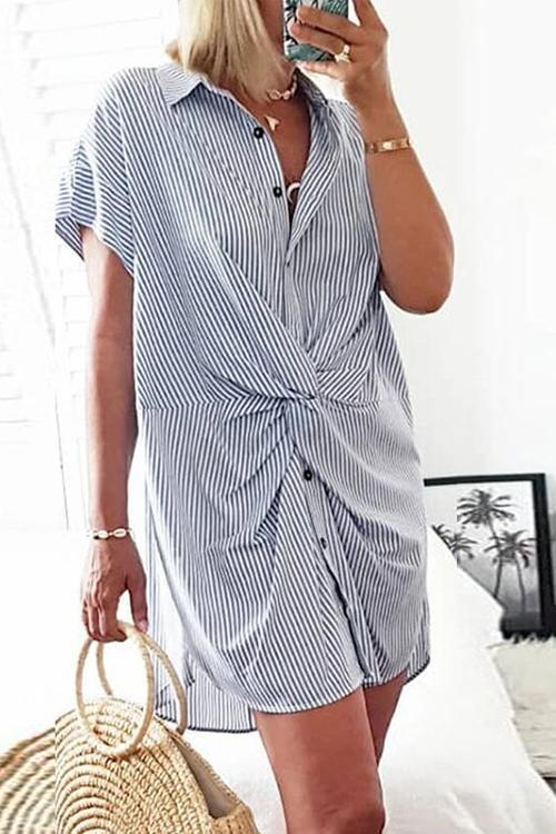 Allovely Twisted Striped Mini Dress