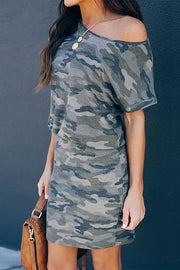 Allovely Camouflage Print Slim Shoulder Short Sleeve Dress