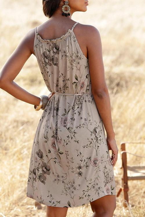 Allovely Printed Lace Up Sleeveless Mini Dress
