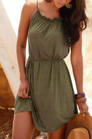 Allovely Drawstring Neck Strap Mini Dress