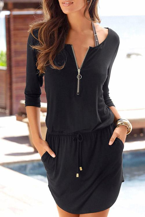 Allovely Zip Pocket Mini Dress