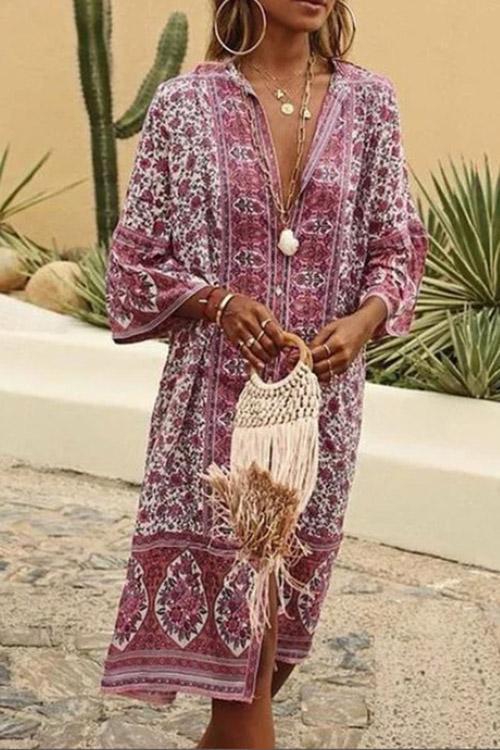 Allovely Bohemian Print Half Sleeve Midi Dress