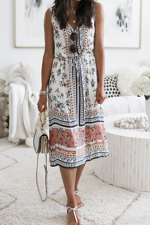 Allovely Bohemian V Neck Printed Midi Dress