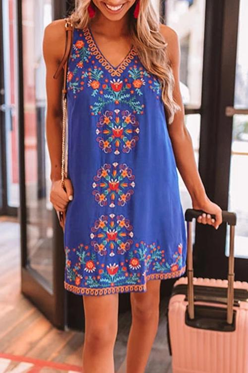 Allovely Ethnic Style Totem Printed Casual Dress