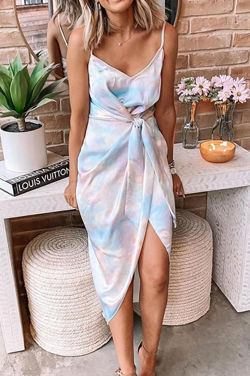 Allovely Tie-Dye Spaghetti-Strap V Neck Dresses