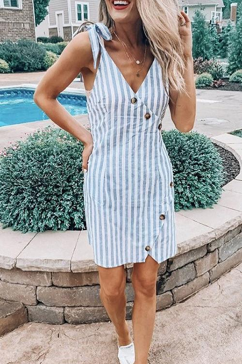 Allovely Button Knot Striped Suspender Dress