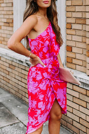 Allovely Diagonal Shoulder Print Dress