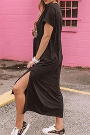Allovely Lip Pattern Split Loose Dress