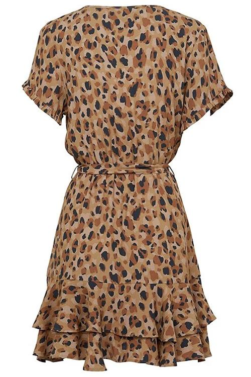 Allovely Single-Breasted Ruffled Leopard Dress