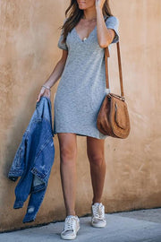 Allovely Deep V-Neck Casual Dress