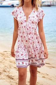 Allovely Bohemian Holiday Short Sleeve Mini Dress