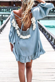 Allovely Open-Back Tassel Flared Sleeve Mini Dress