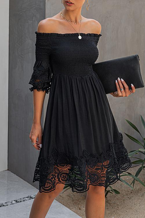 Allovely One-Shoulder Backless Solid Lace Dress
