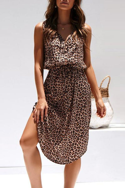 Allovely V Neck Sleeveless Leopard Print Dress
