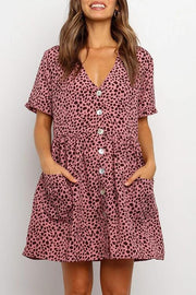 Allovely Button Short Sleeve Leopard V-Neck Dress