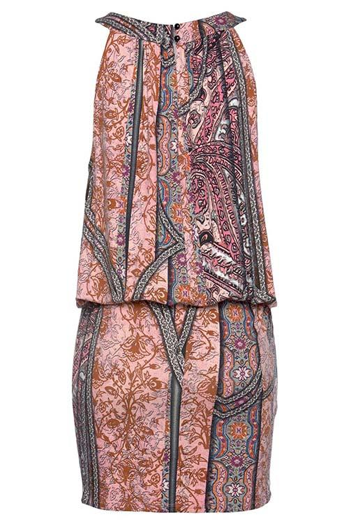 Allovely Retro Print Sleeveless Slim Mini Dress