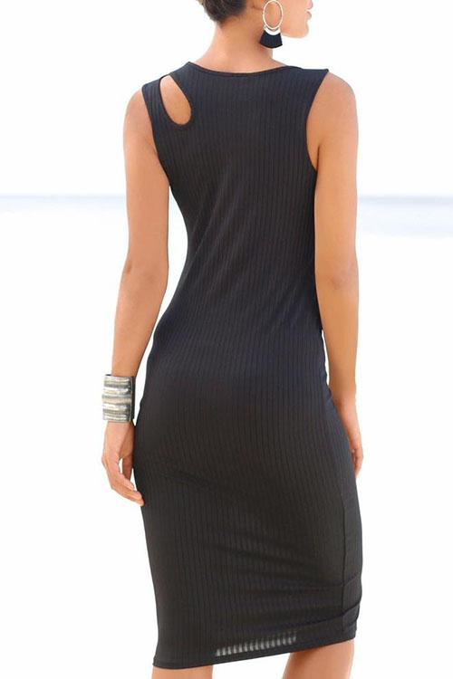 Allovely Knitted Sleeveless Slim Hollow Dress