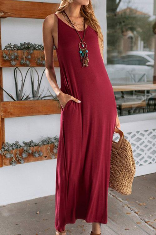 Allovely Strap Casual Pocket Maxi Dress