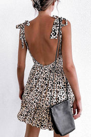 Allovely Leopard Print Suspenders Mini dress