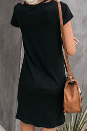 Allovely V Neck Knotted Short Sleeve Dress