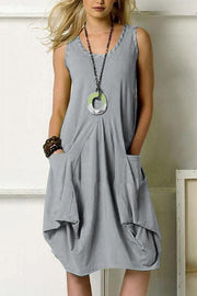 Allovely Solid Color Pocket Irregular Hem Midi Dress