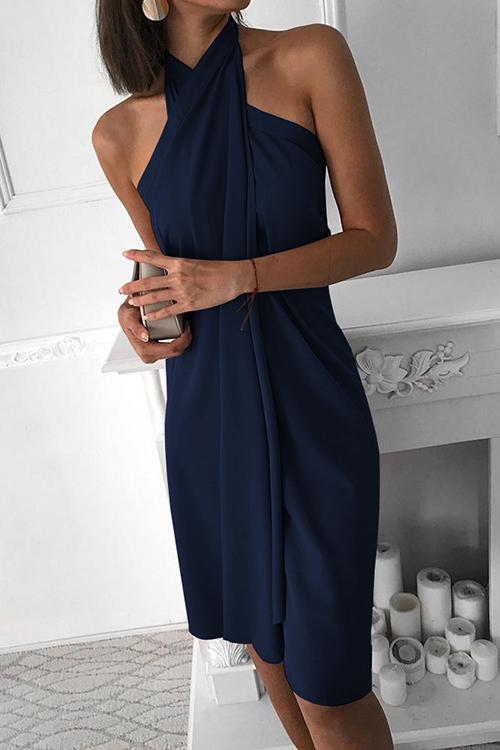 Allovely Halter Sleeveless Ruched Design Dress