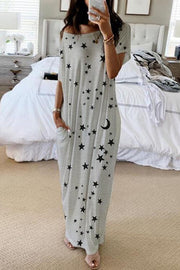 Allovely Long Dress With Star And Moon Print